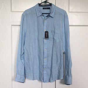 Nautica NWT Blue Linen Button Down- Men's L